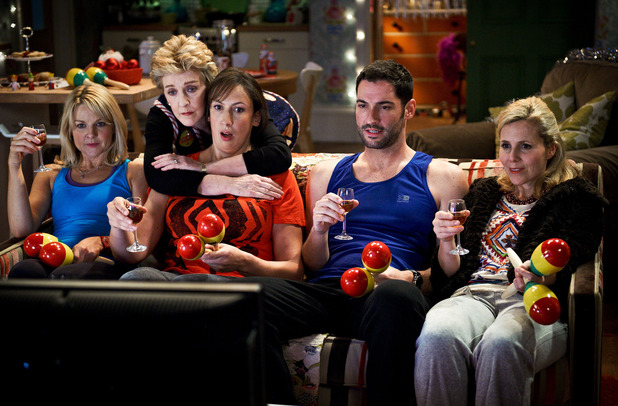Miranda - Season 3, Episode 2:  Stevie (SARAH HADLAND), Penny (PATRICIA HODGE), Miranda (MIRANDA HART), Gary (TOM ELLIS), Tilly (SALLY PHILLIPS)