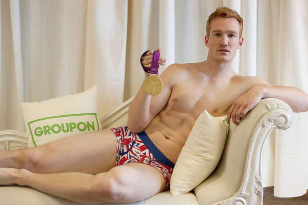 Greg Rutherford poses for Groupon's life drawing class in aid of Male Cancer Awareness Campaign