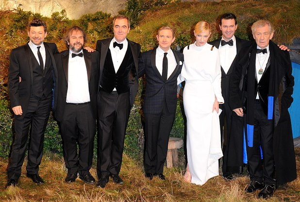 The UK Premiere of The Hobbit: An Unexpected Journey: Cate Blanchett, Sir Ian McKellen, Martin Freeman, James Nesbitt, Andy Serkis and Richard Armitage with Perter Jackson