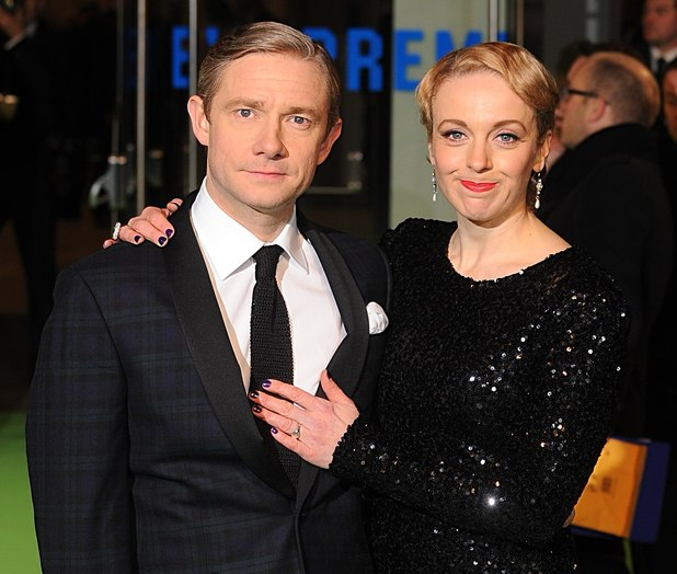 The UK Premiere of The Hobbit: An Unexpected Journey: Martin Freeman and partner Amanda Abbington