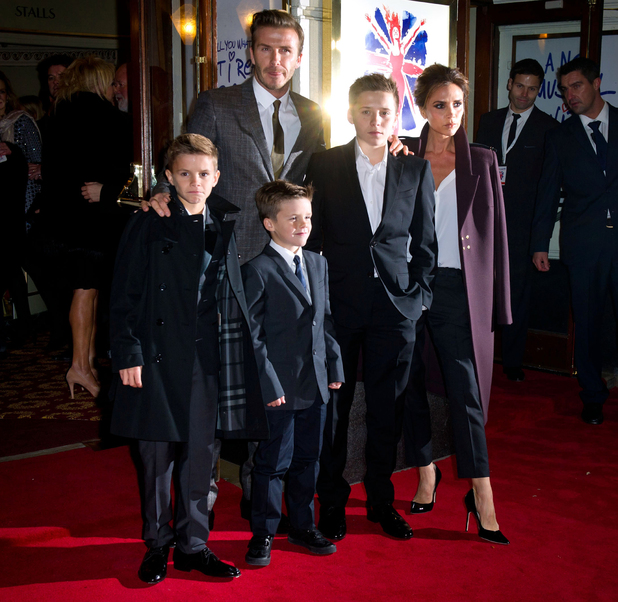 David and Victoria Beckham, with children Romeo, Brooklyn and Cruz, at the press night of Viva andForever!, a new musical based on the songs of the Spice Girls.