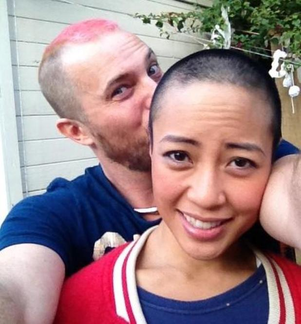 Duncan Jones shaves his head to support his wife Rodene Jones, who has breast cancer
