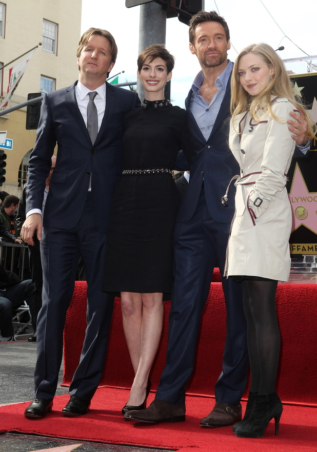 Hugh Jackman with Tom Hooper, Anne Hathaway and Amanda Seyfried at his Hollywood Walk of Fame star ceremony - December 13, 2012