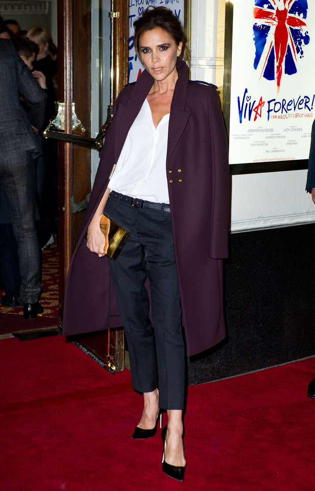 Victoria Beckham arrives at the press night of Viva andForever!, a new musical based on the songs of the Spice Girls.