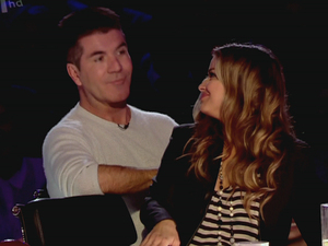 Carmen Electra sitting on Simon Cowell&#39;s lap on &#39;Britain&#39;s Got More Talent&#39;, shown on ITV2