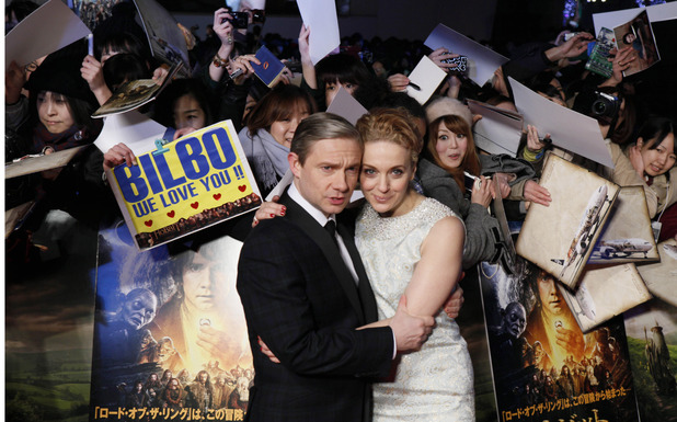 Martin Freeman hugs his wife Amanda Abbington