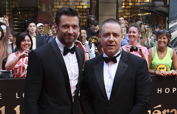Hugh Jackman and Russell Crowe arrive for the premiere of Les Miserables in Sydney.