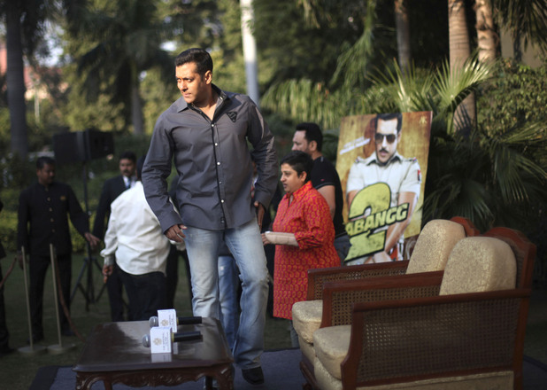 "Salman Khan attends a promotional event of his upcoming Hindi film<em>""Dabangg 2</em> or Fearless 2, in New Delhi, India"