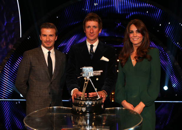 Bradley Wiggins with David Beckham and Catherine, Duchess of Cambridge (Kate Middleton)