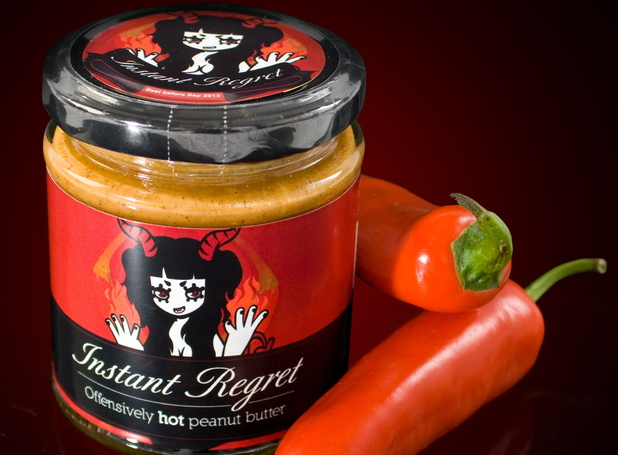 Spicy &#39;Instant Regret&#39; peanut butter, which is 6 times hotter than the world&#39;s hottest chili