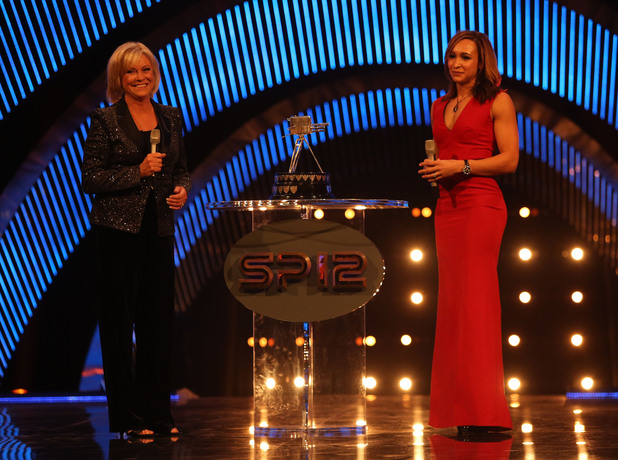 Jessica Ennis on stage with Sue Barker