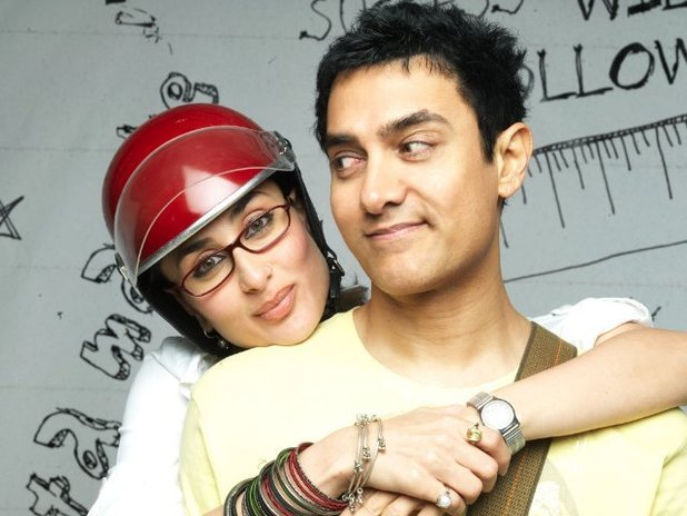 Aamir Khan as 'Rancho' Shamaldas Chanchad alongside co-star Kareena Kapoor in '3 Idiots'