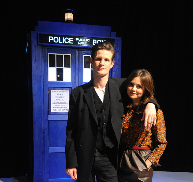 Matt Smith, Jenna-Louise Coleman, Doctor Who, are seen at the BBC TV Centre in London