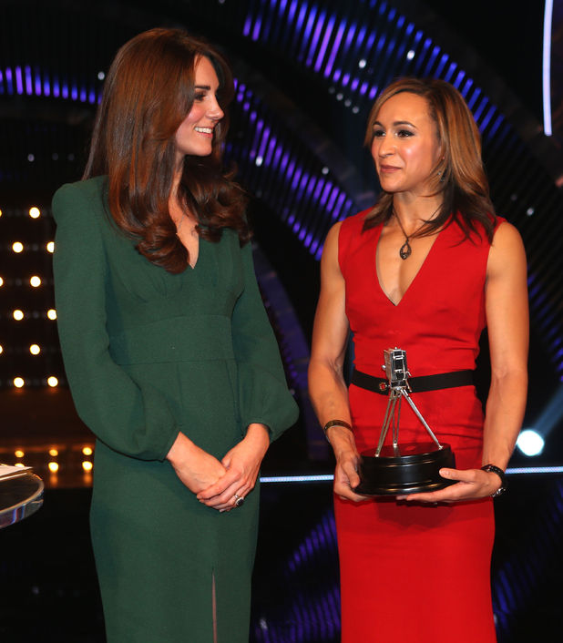 The Duchess of Cambridge and Jessica Ennis with her Second placed Sports Personality of the Year 2012 award during the Sports Personality of the Year Awards 2012, at the ExCel Arena, London