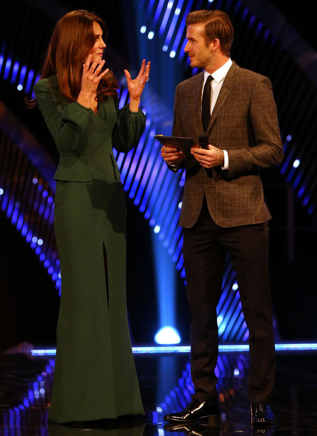The Duchess of Cambridge (left) and David Beckham during the BBC Sports Personality of the Year Awards 2012 at ExCeL London. Picture date: Sunday December 16, 2012. See PA story SPORT SPOTY. Photo credit should read: David Davies/PA Wire