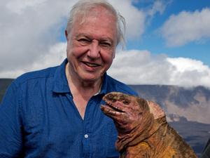 Sir David Attenborough with Dr Gabriele Gentile and Pink Iguana