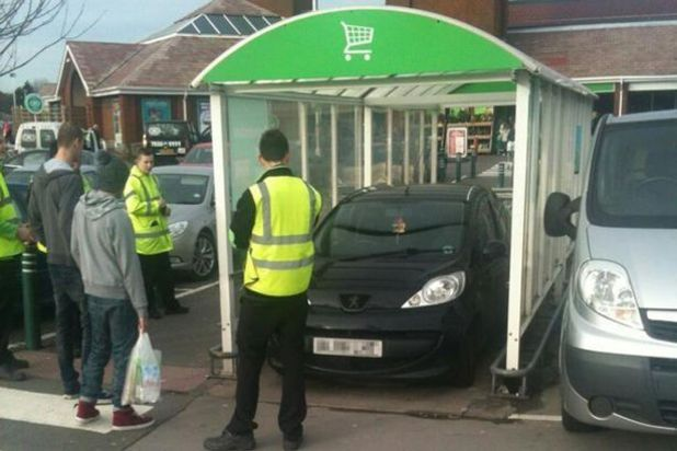 Person parks car in Tolley park in Asda