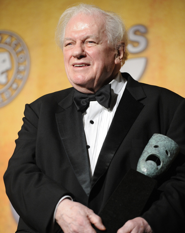 Charles Durning holds his life achievement award at the 14th Annual Screen Actors Guild Awards in Los Angeles