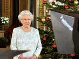 Queen Elizabeth II records her Christmas message to the Commonwealth in 3D for the first time, from the White Drawing Room of Buckingham Palace in central London.
