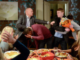 When he arrives with flowers for Abi and spots Dexter at the dinner table Jay loses it.