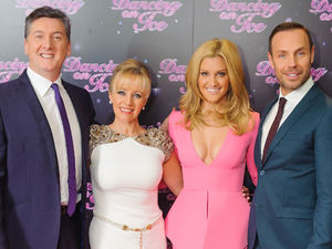 Judges Robin Cousins, Karen Barber, Ashley Roberts and Jason Gardiner at a photocall for the launch of the new series of 'Dancing on Ice' at the ITV Studios, London