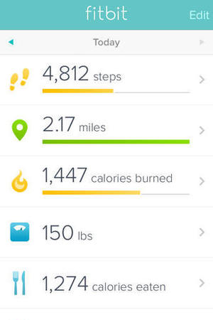 Screenshot of the Fitbit iOS app
