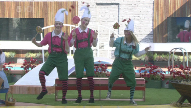 Celebrity Big Brother 8 - Day 7 Jedward and Tara Reid dancing dressed as munchkins for the 'Wizard Of Oz' shopping task