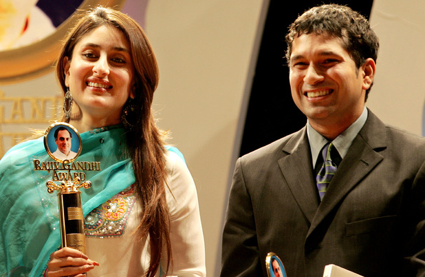 Bollywood actress Kareena Kapoor, left, and Cricketer Sachin Tendulkar look on after receiving their Rajiv Gandhi Awards 2005, for their contribution in film and cricket respectively, in Bombay, India, Friday, Aug. 19, 2005.