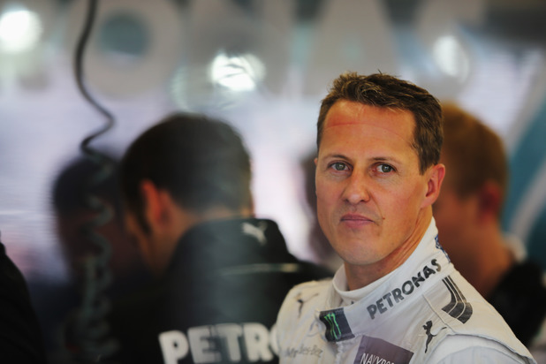 Michael Schumacher in the pits at Silverstone for the 2012 British Grand Prix