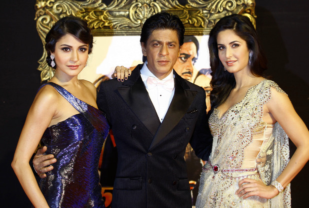 Anushka Sharma, Shah Rukh Khan and Katrina Kaif pose during the premiere of their film <em>As long as I Am Alive</em> in Mumbai, 2012.