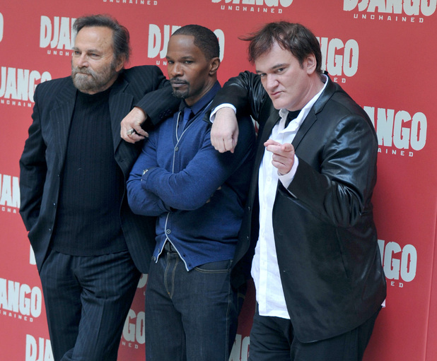 Franco Nero, Jamie Foxx and director Quentin Tarantino