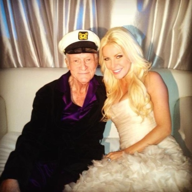 Hugh Hefner and Crystal Harris celebrate New Year&#39;s Eve