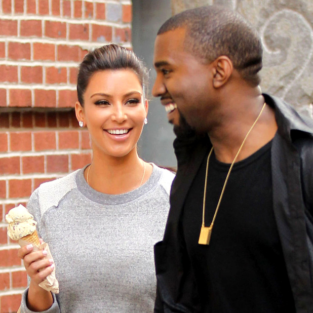 Kim Kardashian and Kanye West out and about, New York, America - 21 Apr 2012