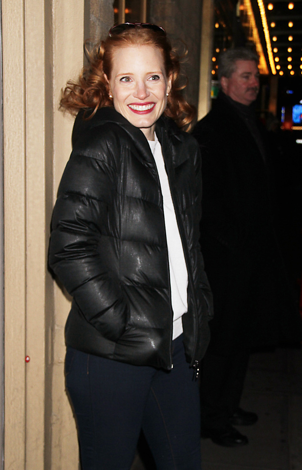 Jessica Chastain at the Walter Kerr Theatre for her Broadway play 'The Heiress'