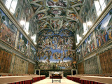 tables and chairs line the Sistine Chapel at the Vatican