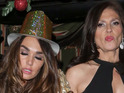 Tamara Ecclestone is propped up by her mum on New Year's Eve.