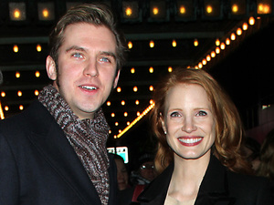 Actors outside The Walter Kerr Theatre for the Broadway play 'The Heiress' Featuring: Dan Stevens, Jessica Chastain Where: New York City, NY, United States When: 06 Jan 2013