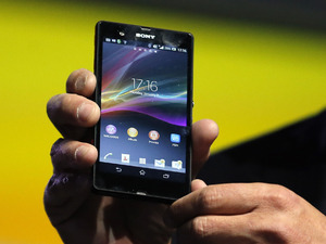 Phil Molyneux, President and CEO of Sony Electronics, introduces the new Xperia Z smartphone during a news conference at the International Consumer Electronics Show