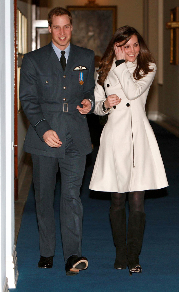Prince William and his girlfriend Kate Middleton walk in RAF Cranwell, Lincolnshire after William received his RAF wings from his father the Prince of Wales.