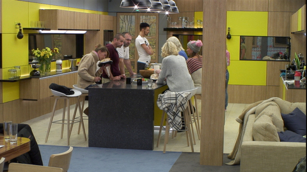 The housemates in the kitchen