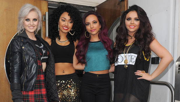 Perrie Edwards, Leigh-Anne Pinnock, Jade Thirlwall and Jesy Nelson aka Little Mix, leaving the Maida Vale studios, having performed on Live Lounge. London, England - 13.11.12 Mandatory Credit: Will Alexander/WENN.com