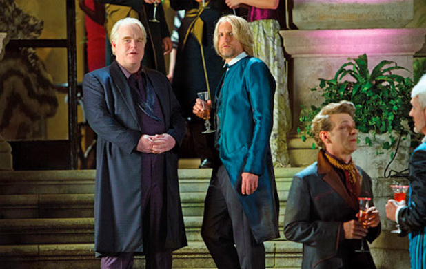'The Hunger Games: Catching Fire' still: Philip Seymour Hoffman and Woody Harrelson