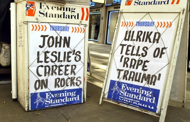 Evening Standard headlines showing story about Ulrika Jonsson rape allegations against John Leslie