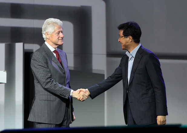 Dr. Stephen Woo introduces former President Bill Clinton