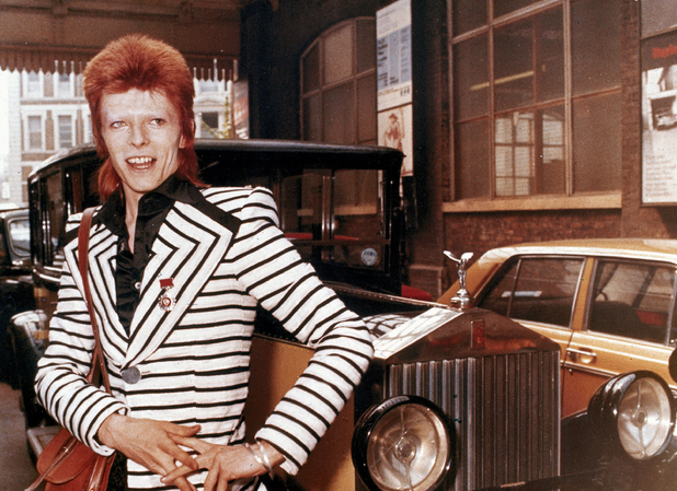 David Bowie with his Rolls Royce, May 1973
