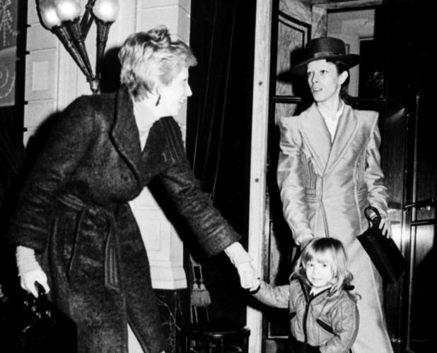 David and Angie Bowie with a young Duncan Jones in February 1974
