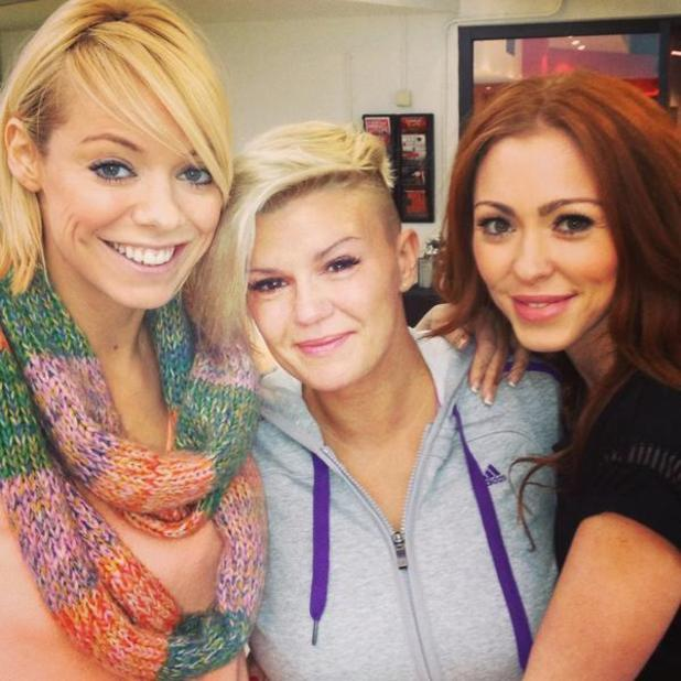 Atomic Kitten members Liz McCLarnon, Natasha Hamilton and Kerry Katona during rehearsals