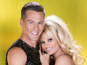 Dancing On Ice Pamela Anderson with professional skater, Matt Evers.