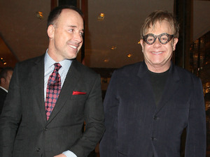 David Furnish and Elton John, at a private dinner for the Elton John Aids Foundation held at Louis Vuitton Maison on New Bond Street - Departures London, England - 02.02.11 Mandatory Credit: Spiller/WENN.com