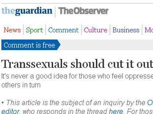Julie Burchill transsexual column in The Observer